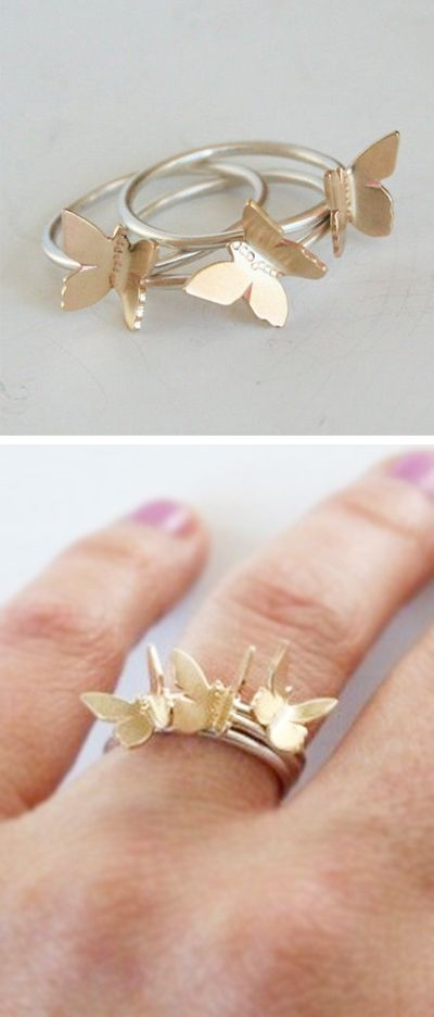 Butterfly stacking rings | jewelry design