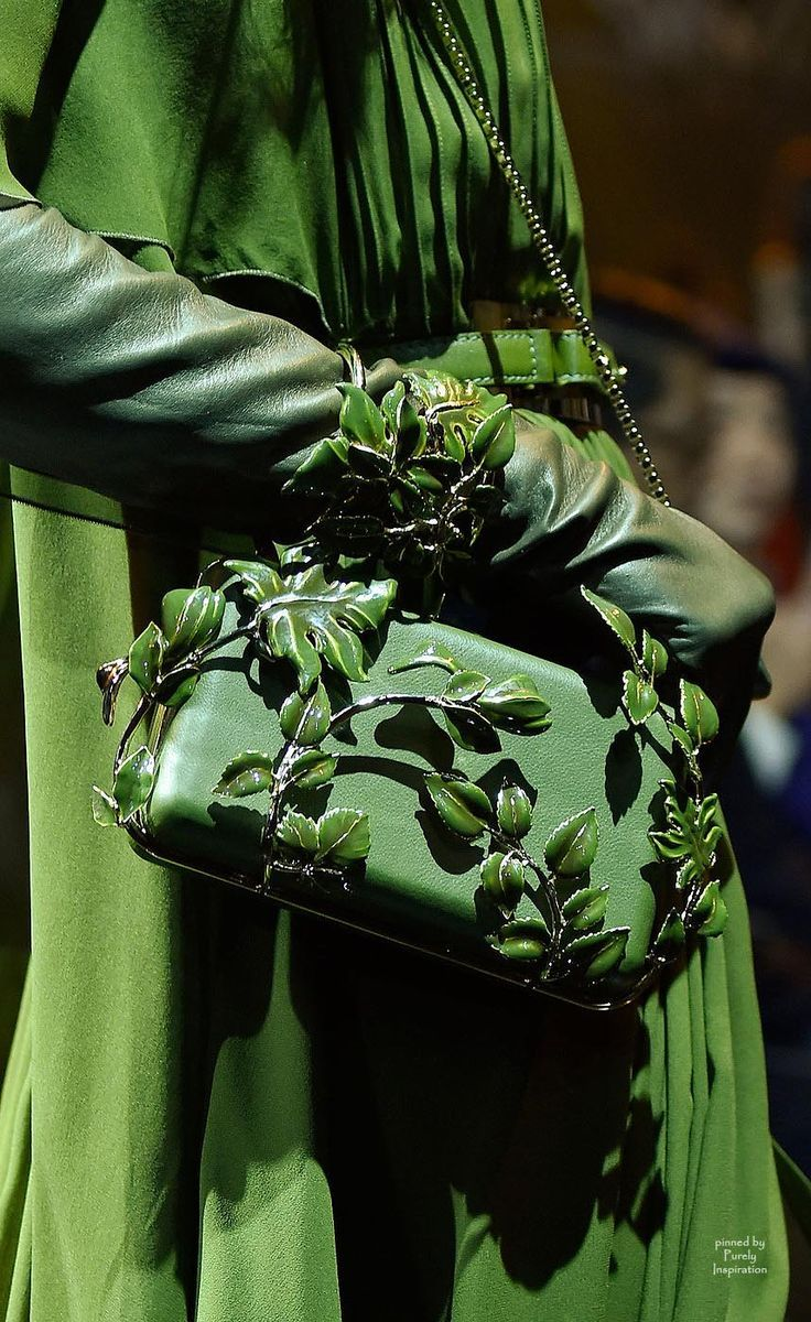 Luxury in Green ~ Coat with Leather Belt, Leather Shoulder Bag with Decorative Leaves, & Three-quarter Length Leather Gloves ....
