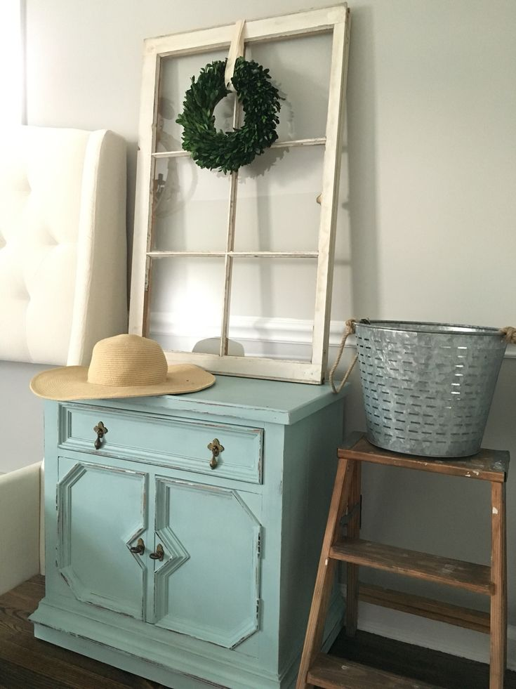Master bedroom nightstand after distressed rustoleum chalk paint serenity blue diy tufted Master bedroom chair rail