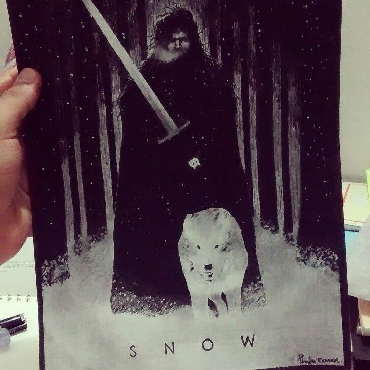 And now my watch ends :'( #jonsnow #fanart #gameofthrones #hbo #direwolf #nightswatch #art