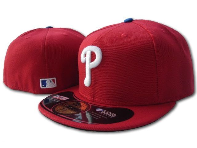 cheap fitted hats -custom new era hats -phillies cap Red/White f
