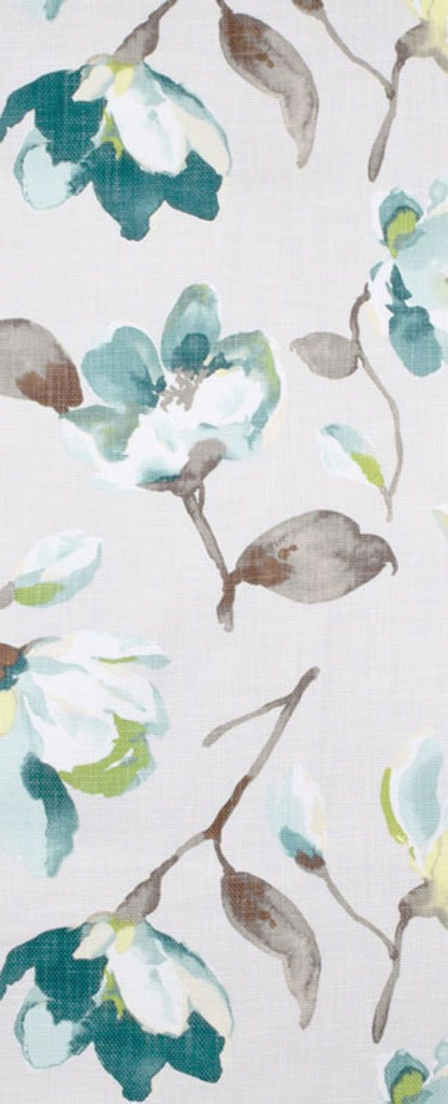 Braemore Fleur Summer decor Fabric with gray, turquoise and green