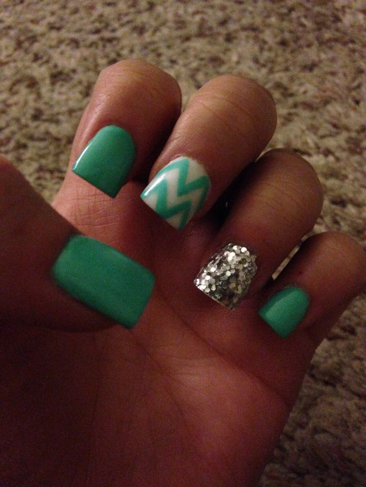 teal chevron nails