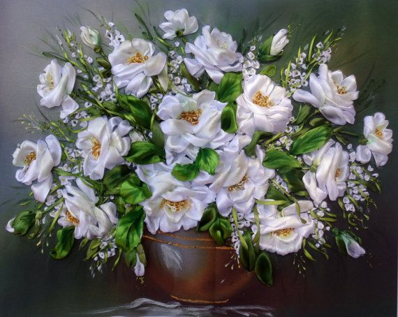 picture White roses Silk ribbon by SilkRibbonembroidery on Etsy, €100.00
