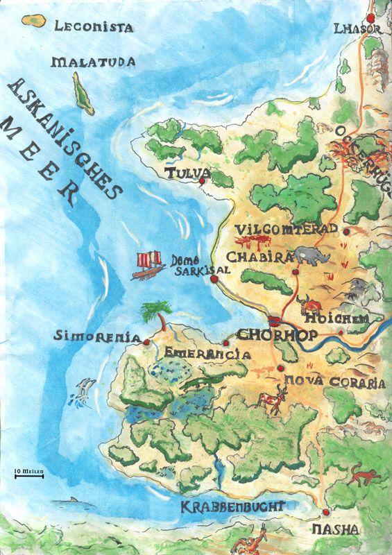 horasreich karte Landkarte Horasreich Askanien farbig   Die Herren von Chorhop