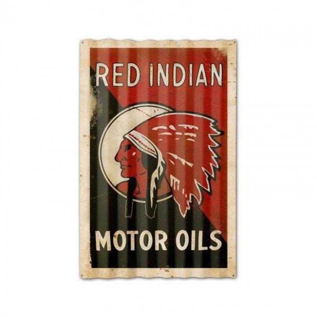 Red Indian Motor Oil Corrugated Metal Advertising Sign Vintage Reproduction Gas Oil Nostalgic Garage Art PTSC014 by HomeDecorGarageArt on Etsy