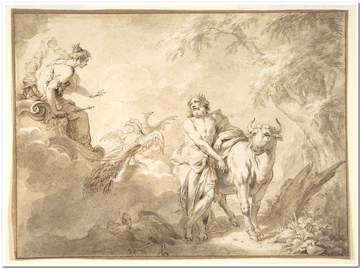 Illustrations to the Metamorphoses of Ovid: Jupiter and Io (.1); Jupiter and Io, disguised as a white beifer (.2); Mercury Rescuing Io from Argus (.3) Godfried Maes (Antwerp 1649–1700 Antwerp) Date: late 17th century Medium: Black chalk, pen and brown ink, brown and gray wash