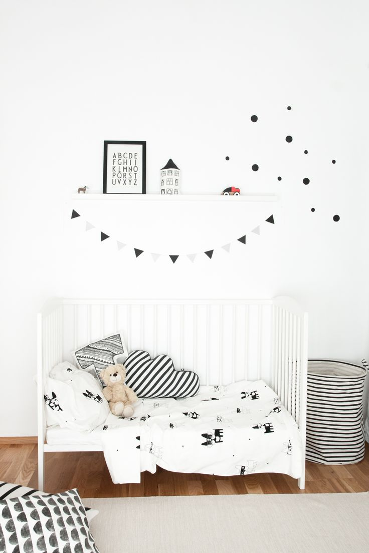 Monochrome Scandinavian style kids room: