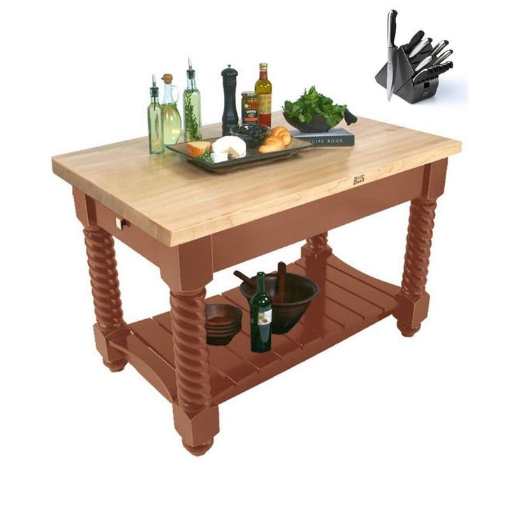 John Boos TUSI5432-CR Tuscan Isle Boos Block Table Maple 54x32x36 & Bonus 13 PC Henckels Knife Set