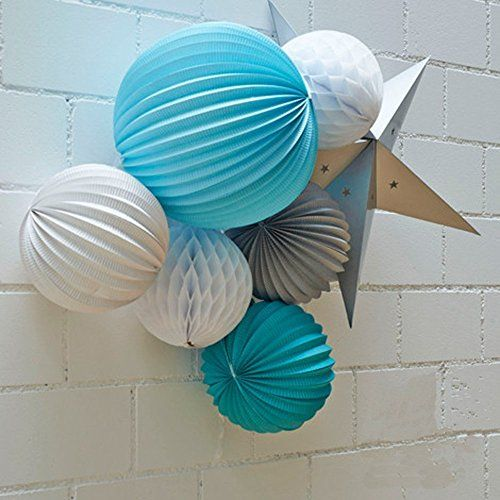 7er Set See & Meer Thema Blau Weiß Grau Lampions Wabenbälle Stern Dekorationen