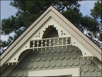 """""""Flying Circle Gable Decoration"""" is an elegant exercise in Victorian Gothic Revival style."""