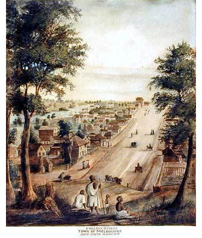 Collins Street-Town of Melbourne, Port Phillip NSW, 1840. Lithograph by Elisha Noyce Original aerwork by William Knight, 1839