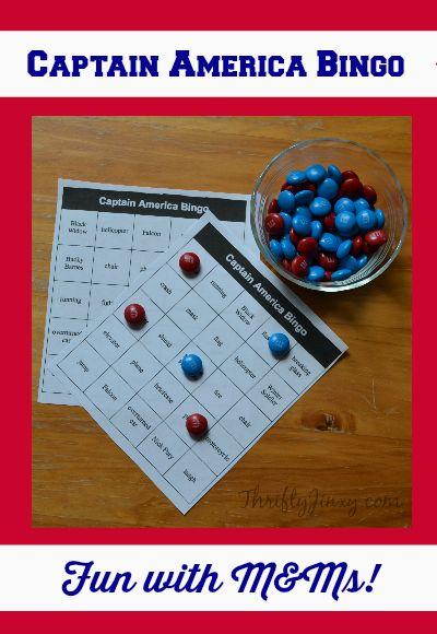 Free Printable Captain America Bingo Game!  #HeroesEatMMs #CollectiveBias #shop