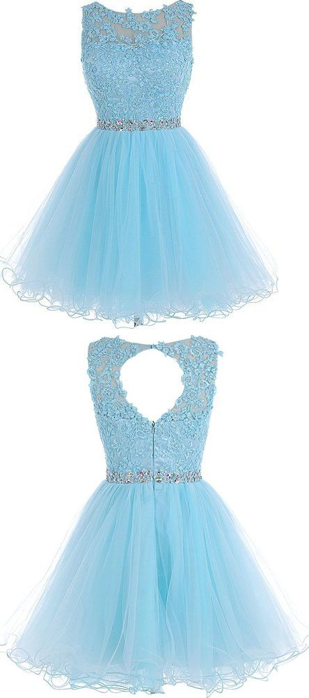 Tulle Homecoming Dress,Lace Homecoming Dress,Blue Homecoming Dress,Fitted Homecoming Dress,Short Prom Dress,sweet 16 dress,party dress
