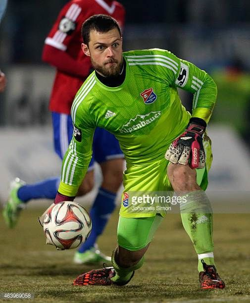 Stefan Marinovic goalkeeper of Unterhaching in action during the Third League match between SpVgg Unterhaching and Chemnitzer FC at Alpenbauer...