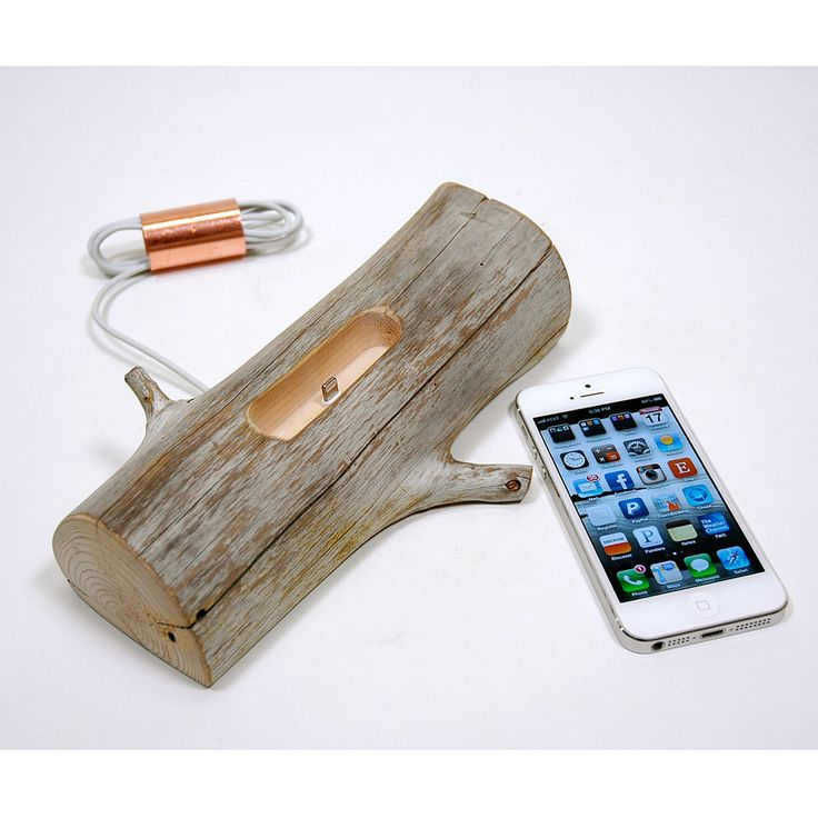 Wooden Charging Dock ~ Driftwood iphone charging dock phone stand