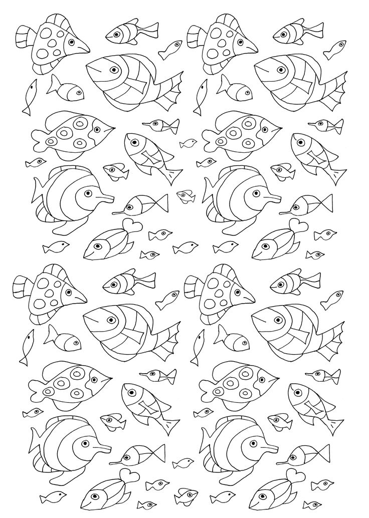 free coloring page coloring 100 fish 100 fish to color by olivier