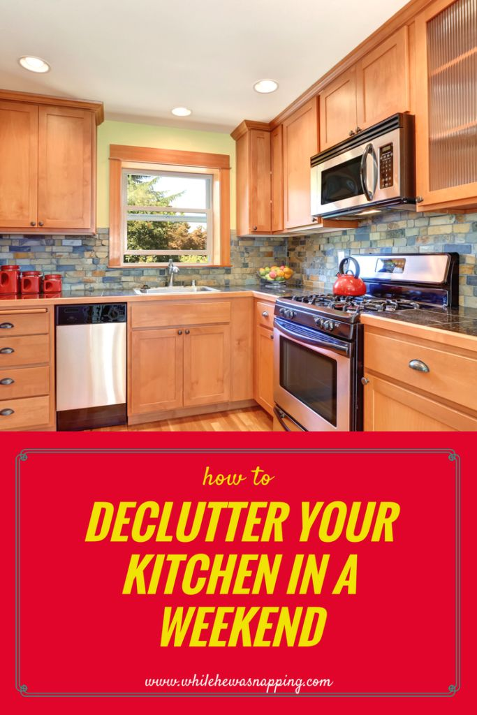 Declutter your Kitchen in a weekend challenge with checklist so you don't miss any spaces that might be hiding not-so-obvious clutter.