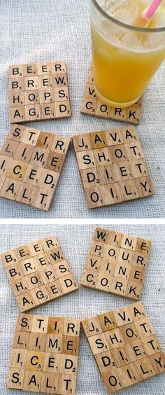 Thanksgiving-Craft ideas-Scrabble tile coasters. Glue them to wood, cardboard, felt or cork.