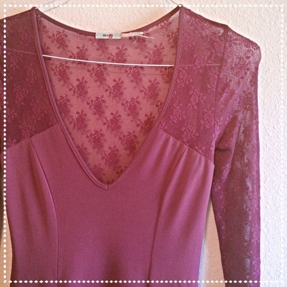 Lace Wine Colored Dress Pre-loved laced wine colored dress. Size S but material stretches and can fit medium.  Kimchi Blue Dresses