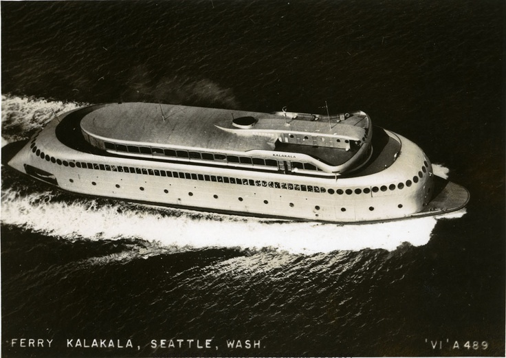 Washington State Historical Society -  aerial view of the ferry Kalkala, showing the starboard side, traveling in open water near Seattle, King County, WA.