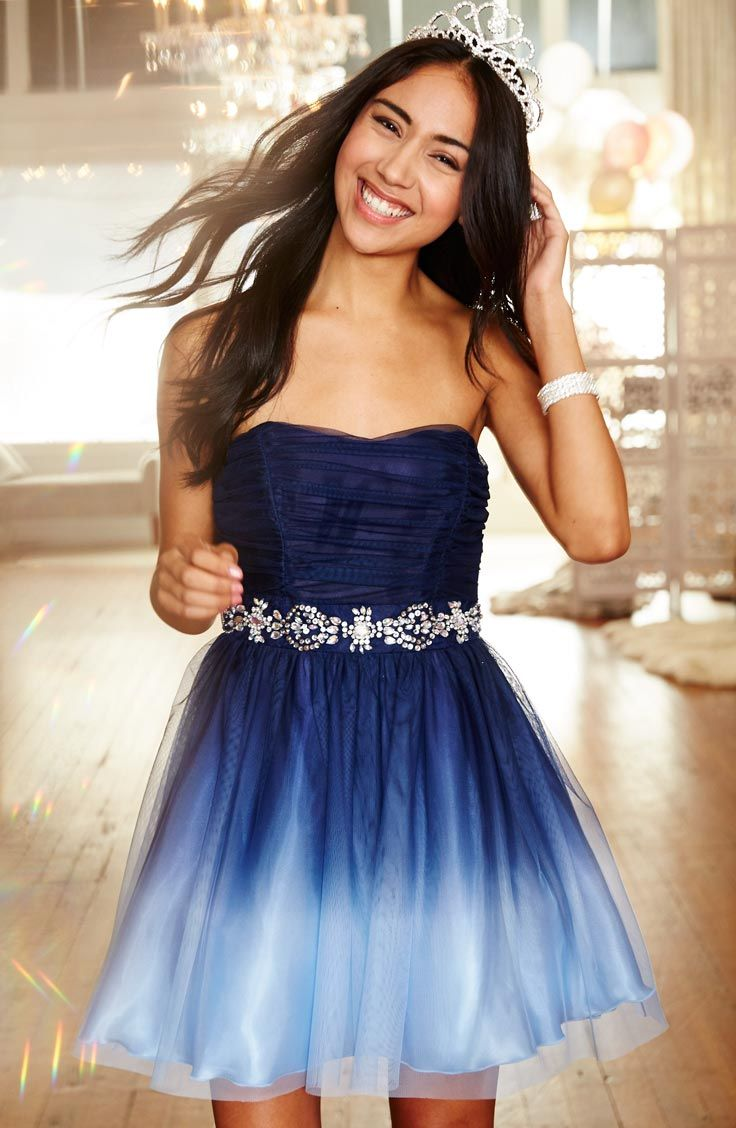 A short dress for prom? Yes, please! She doesn't have to go long for her special night, traditional hemlines are being brought up a notch, while still remaining formal. She'll look and feel like a princess in this dress that features a sparkle embellished waistline and a tulle skirt made for twirling.