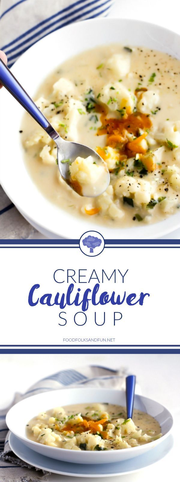 Comfort Food Alert: This Creamy Cauliflower Soup recipe is savory, cheesy, and filled with tender chunks of cauliflower plus all of the comforts of a home-cooked meal!