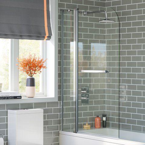 1000mm EasyClean Straight Bath Screen & Towel Rail 6mm thick Glass - soak.com