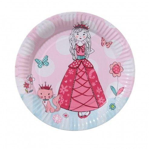Set van 8 papieren bordjes voor super mooi prinsessenfeestje. Op elk bordje staat een verlegen prinses met een poesje.