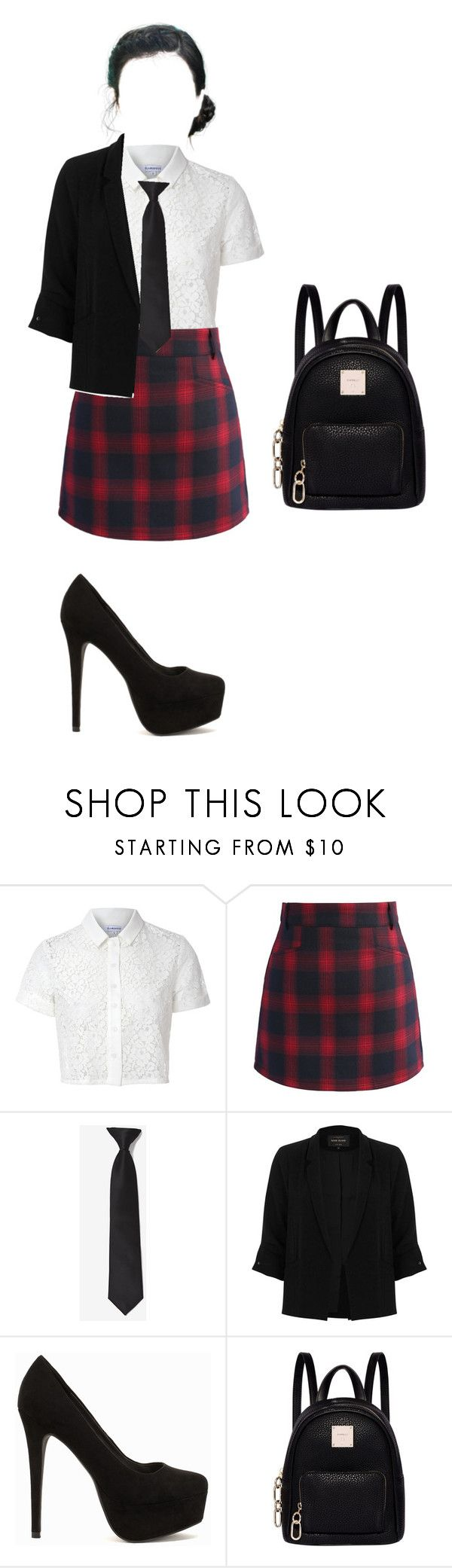 """""""school uniform"""" by fashion-fbi-2001 on Polyvore featuring Glamorous, Chicwish, River Island, Nly Shoes and Fiorelli"""