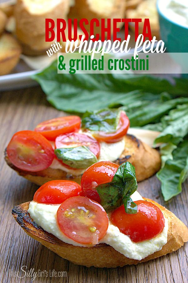 This Bruschetta recipe is cooked on the grill and the whipped feta and grilled crostini make this an amazing summertime appetizer.