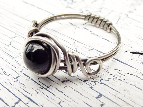 Black Onyx Sterling Silver Ring Wire Wrapped by wwcsilverjewelry, $20.00