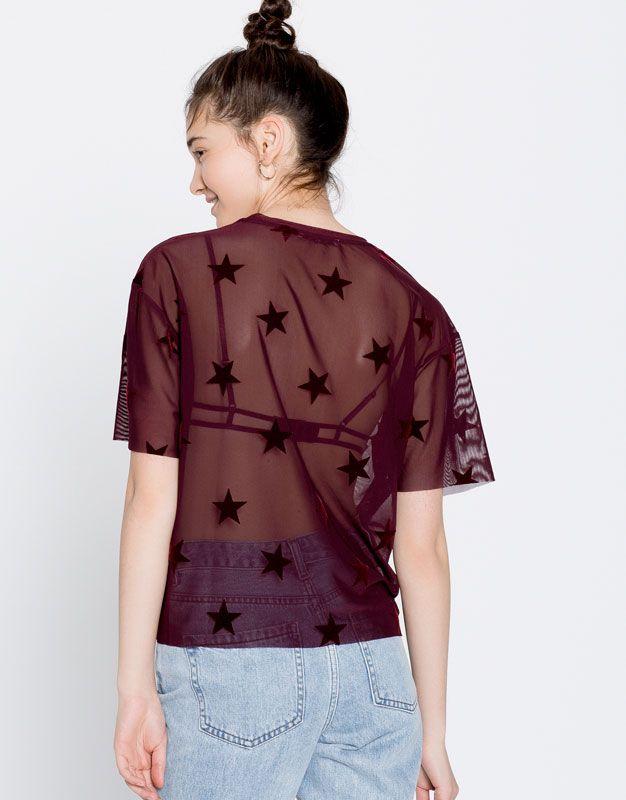 Tule T-shirt met sterren - T-shirts - Kleding - Dames - PULL&BEAR België