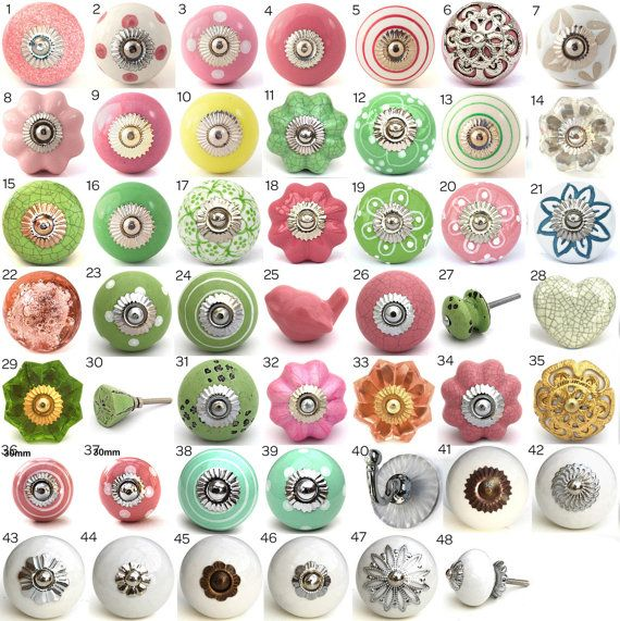 Ornamental Ceramic Door Knobs, Kitchen Cabinet, Cupboard or Drawer Pulls, Various Pink & Green Designs