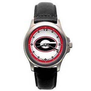 """Georgia Bulldogs Ladies NCAA """"Rookie"""" Watch (Leather Band) by Logo Art. $52.99. Coordinating Colored Dial Ring. Water Resistant. Padded Leather Strap. Bold Logo On Dial. 2 Year Warranty. The LogoArt """"Rookie"""" model features a brushed finished case and has a bold logo on a large dial and a precision Miyota quartz movement. It has a coordinating colored dial ring and printed hour and minute marks. The """"Rookie"""" comes with a padded leather strap, and is available as one unisex..."""