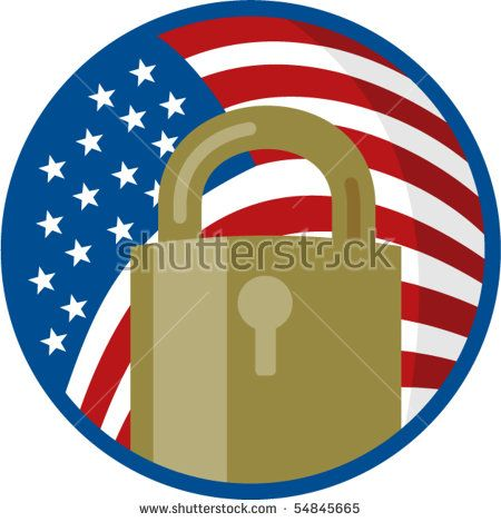 vector illustration of a Padlock with american flag inside circle  #padlock #retro #illustration