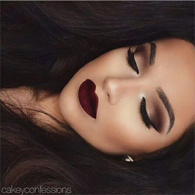 Bold fall or night look. Beautiful dark wine lip with a flawless brown smokey eye