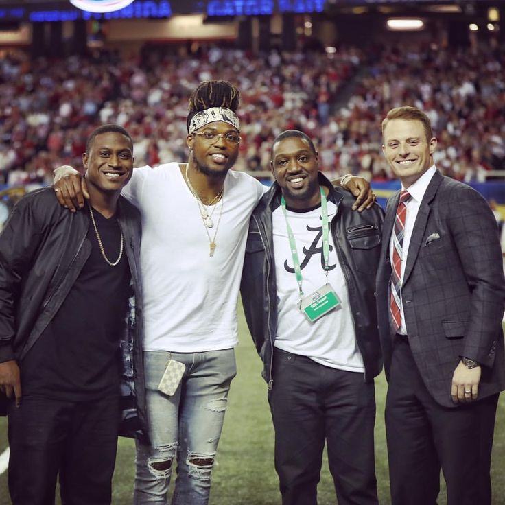 former alabama football players blake sims, derrick henry, antonio langham and greg mcelroy at 2016 sec championship game