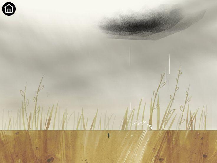 Raining scene. Children can water by controlling the rain cloud around.