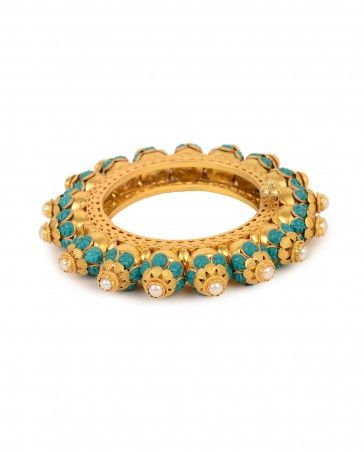 Floral Design Bangles with Turquoise Stones