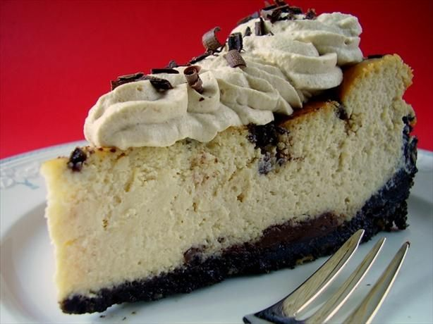 """Bailey's Irish Cream Chocolate Chip Cheesecake: """"Everyone loved it and said it was the best cheesecake I ever made. It was gobbled up in a flash!"""" -fallentearDesserts, Chocolate Chips, Chocolate Chip Cheesecake, Cheesecake Recipe, Savory Recipe, Cream Chocolates, Chocolates Chips Cheesecake, Baileys Cheesecake, Baileys Irish Cream"""
