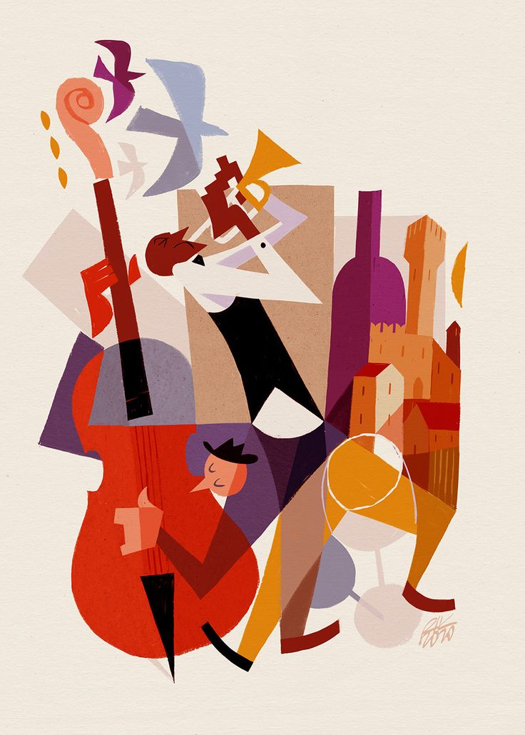 Music Illustration, Character Illustration, Graphic Illustration, Jazz Art, Jazz Music, Art Deco Posters, Vintage Posters, Jazz Painting, Montreux Jazz