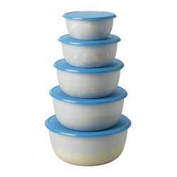 REDA boîte de conservation, 5 pces, bleu, rond blanc transparent