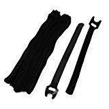 DealMux Nylon Reusable Fastener Hook Loop Tie Strap Cable Band Belt 30 Pcs Black