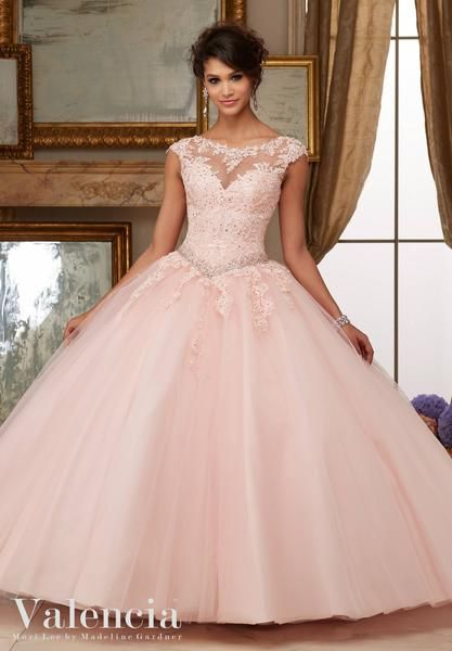 Crystal Beaded Lace Appliques on Tulle Ball Gown Quinceanera Dress Matching Stole. 60006