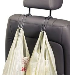 Car hooks... great for grocery bags or anything else!