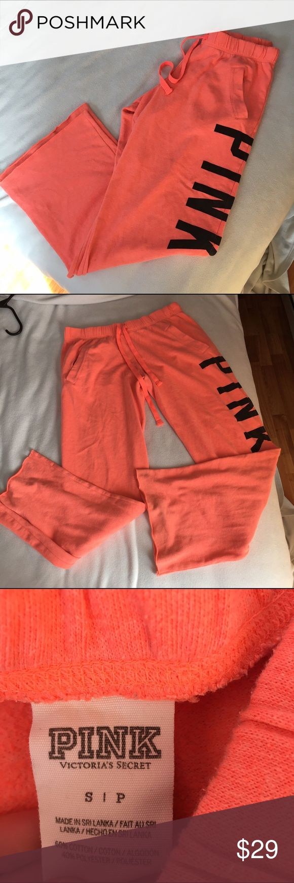 Pink Victoria's Secret Boyfriend Sweatpants small In great condition! Worn minimally. Size small from Victoria's Secret. These are straight leg sweats. Orangey-coral color. Comfy and cozy! PINK Victoria's Secret Pants Track Pants & Joggers