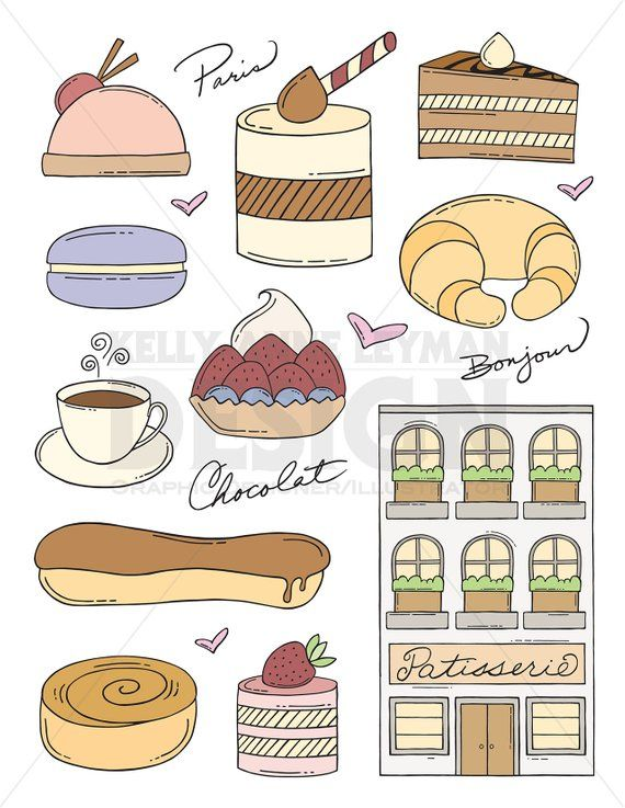 Doodle French Pastry Clip Art Set Dessert Clipart Food Doodles Commercial Use Digital Download A Food Doodles Doodles Clip Art
