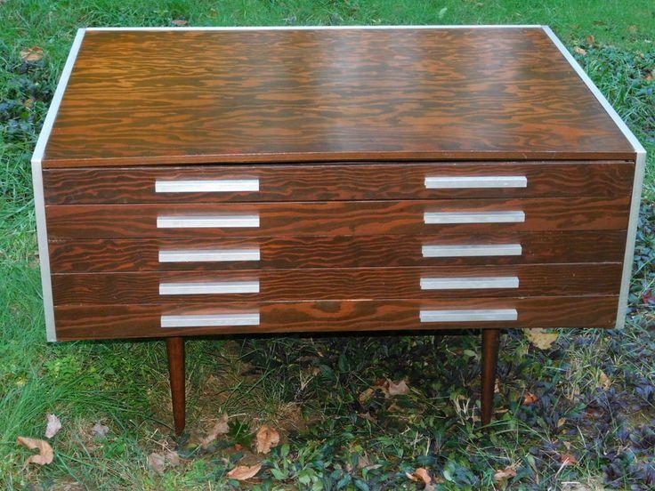 Mid Century Danish Scandinavian Modern MCM blueprint architect cabinet table