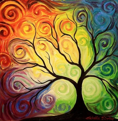 I just love the look of this tree and the colors flowing into each other. rainbow colored artwork